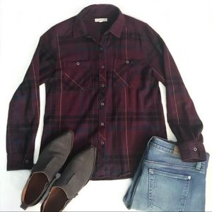 LA Hearts Plaid Flannel Button Down